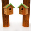 Two nest box birdhouse — Stock Photo