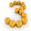 The number three of gold coins with dollar sign — Stock Photo