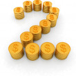 The number two of gold coins with dollar sign — Stock Photo