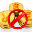 Gold coins with 3 major currencies and prohibitive sign - Stock Photo