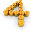 The number four of gold coins with dollar sign — Stock Photo