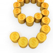 The number nine of gold coins with dollar sign — Stock Photo