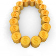 The number zero of gold coins with dollar sign — Stock Photo