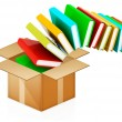 Colorful real books in cardboard box on white — Stock Photo