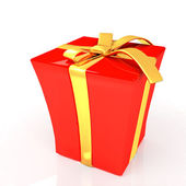 Red gift with gold ribbon on a white background — Stock Photo