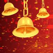 Gold bell on winter or Christmas style background — Stock Photo