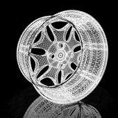 Modelo 3d de aros de roda de carro em um fundo preto — Foto Stock
