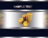 абстрактный фон с золотой доллар монеты с — Стоковое фото