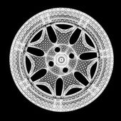 3d model of car wheel rims isolated on a black background — Stock Photo