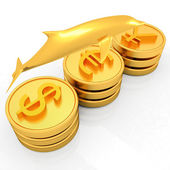 Gold coins with 3 major currencies with golden dolphin — Stock Photo
