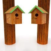 Two nest box birdhouse — Stock Photo