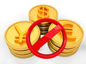 Gold coins with 3 major currencies and prohibitive sign — Stock Photo