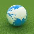 Stock Photo: Earth on green grass. Abstract 3d illustration