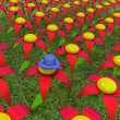 One individuality blue hat on a fantastic flower — Stock Photo