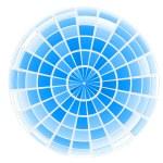 abstrakt 3d Kugel mit blauen Mosaik design — Stockfoto