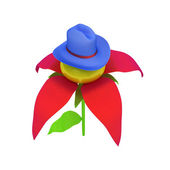 Blue hat on a fantastic flower iisolated on white background. 3d — Stock Photo