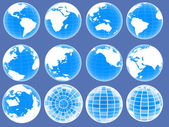 Set of 3d globe icons showing earth with all continents — Stok fotoğraf