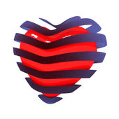 3d beautiful red glossy heart in the bands — Foto Stock