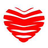 3d beautiful red glossy heart of the bands — Foto Stock