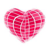 3d güzel kırmızı parlak kalp — Stok fotoğraf
