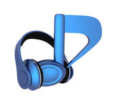 Blue headphones and note icon — Stock Photo