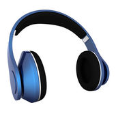Blue metallic headphones isolated on a white background — ストック写真