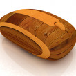 Wooden computer mouse on white background — Stock Photo