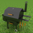 Oven barbecue grill on green grass — Stock Photo #23520921