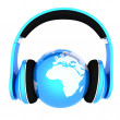 World music 3D render of planet Earth with headphones — Stock Photo