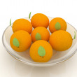 Oranges with leaves — Stock Photo