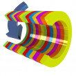 3d colorful abstract cut pipe and arrow - Stock Photo