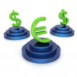 Stock Photo: Icon euro and dollar signs on podiums on white background