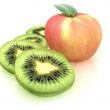 Slices of kiwi and apple on a white — Stock Photo
