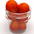 Jar with peaches on white background — Stock Photo