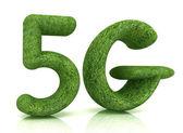 5g moderní síť internet. 3d text trávy — Stock fotografie