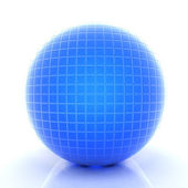 Abstract 3d sphere with blue mosaic design on a white background — Stock Photo