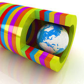 3d colorful abstract cut pipe and earth — Stock Photo