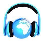 Världen musik 3d render för planetjorden med hörlurar — Stockfoto