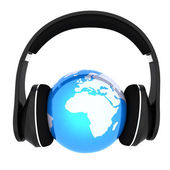Blue earth with headphones. World music concept isolated on white — Stock Photo