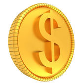 золотая монета доллар. иллюстрация, изолированные на белом фоне. 3d визуализация — Стоковое фото