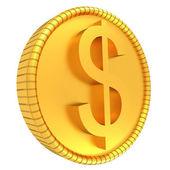 Złota moneta dolara. ilustracja na białym tle. 3d render — Zdjęcie stockowe