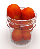 Jar with peaches on white background — Stockfoto