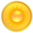Gold coin with the sun. Illustration isolated on white background. 3d render - Stock Photo