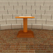 Abstract futuristic interior. Brick scene with cathedra and tribune. — Stock Photo