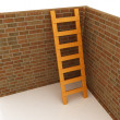 Stock Photo: Ladder leans on brick wall