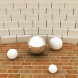 Abstract futuristic interior. Brick scene and tribune with chrome sphere and white balls - Stock Photo