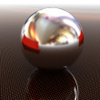 Chrome ball on light path to infinity — Stock Photo