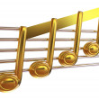 Stock Photo: 3D music notes on staves on white