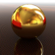 Gold ball on light path to infinity — Stock Photo