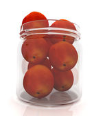 Jar with peaches on white background — Stok fotoğraf